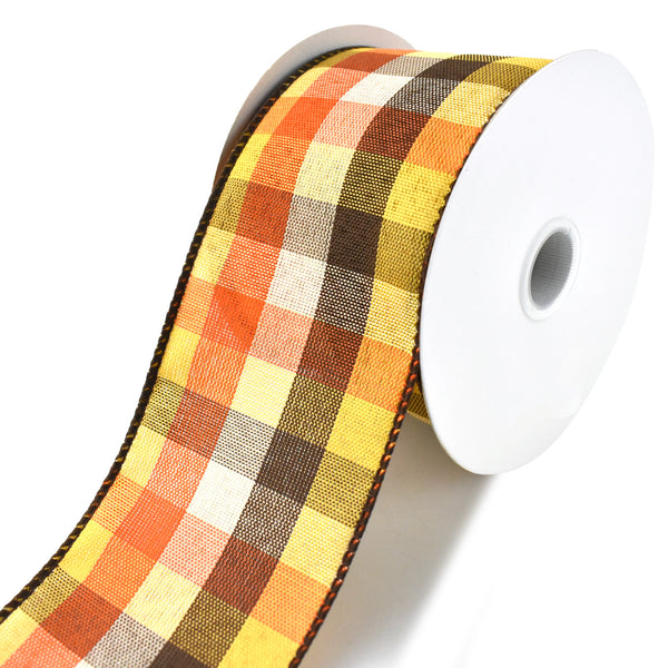 Square Plaid Wired Ribbon, Orange/Brown/Yellow/Cream, 2-1/2-Inch, 10-Yard