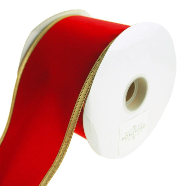 Velvet Dynasty Gold Trim Wired Christmas Holiday Ribbon, Red, 4-Inch, 20 Yards