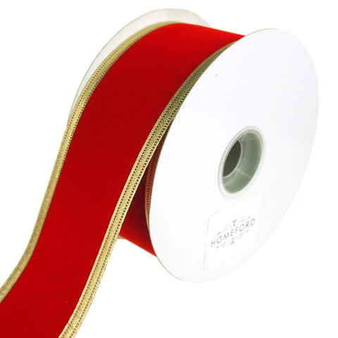 Velvet Dynasty Gold Trim Wired Christmas Holiday Ribbon, Red, 2-1/2-Inch, 20 Yards