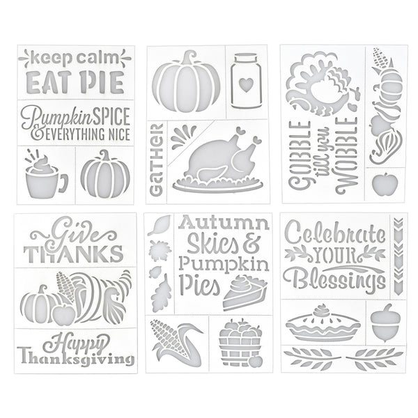 Thanksgiving Assorted Adhesive Back Paper Stencils, 8-Inch, 6-Piece