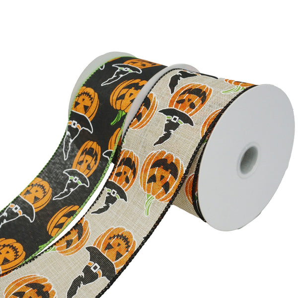 Jack O' Lanterns with Witch Hats Ribbon, 2-1/2-Inch, 10-Yard