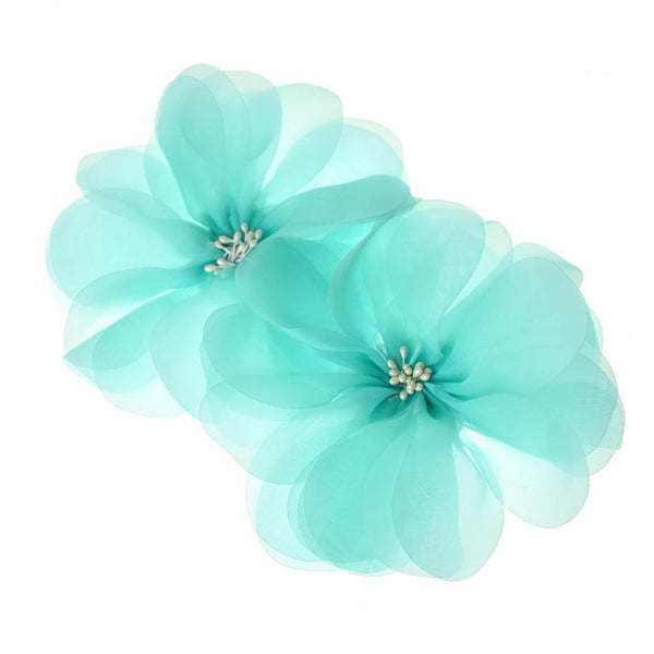 Organza Flowers with Beaded Center, 5-3/4-Inch, 2-Count, Blue
