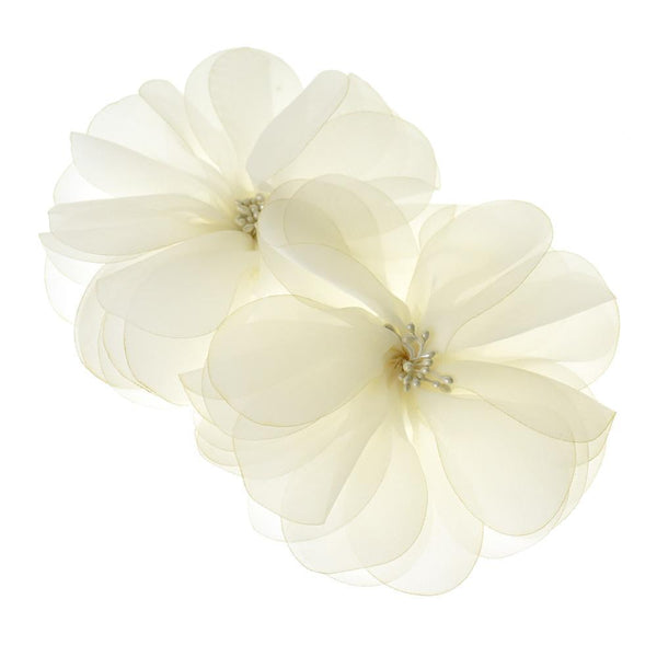 Organza Flowers with Beaded Center, 5-3/4-Inch, 2-Count, Ivory