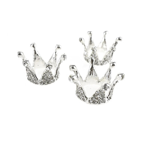 Mini Princess Rhinestone Crown Embellishments, Silver, 1-Inch, 3-Piece