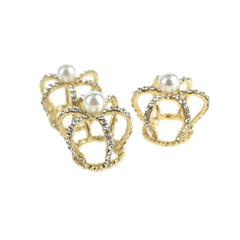 Mini Royal Rhinestone Crown Embellishments, 1-Inch, 3-Piece, Gold