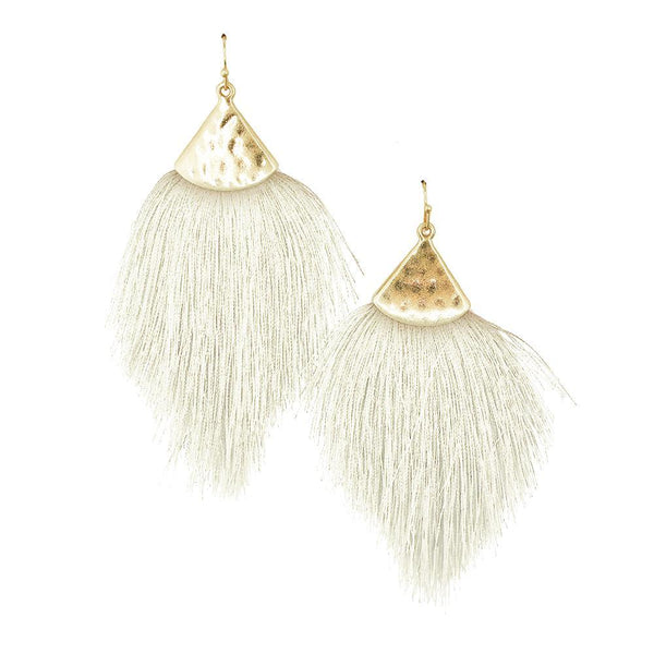 Tassel Drop Earrings with Hammered Metal, Ivory, 3-1/4-Inch