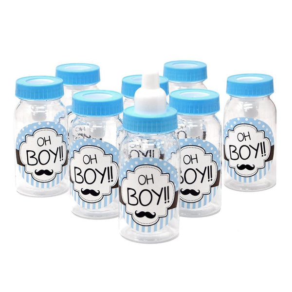 Oh Boy Plastic Baby Milk Bottle Favors, Blue, 4-1/2-Inch, 8-Count