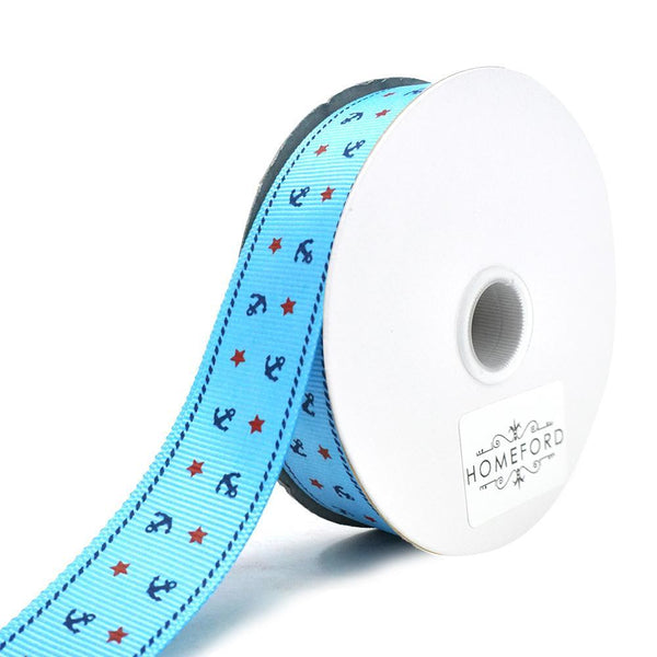 Nautical Anchor and Star Grosgrain Ribbon, Blue, 7/8-Inch, 25-Yard