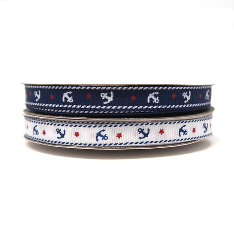 Nautical Anchor and Star Grosgrain Ribbon, 3/8-Inch, 25-Yard