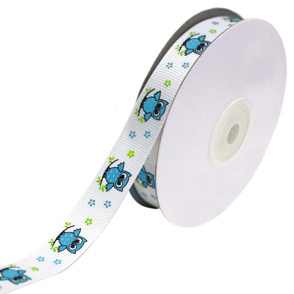 Floral Owl on Branch Grosgrain Ribbon, Turquoise, 5/8-Inch, 25-Yard