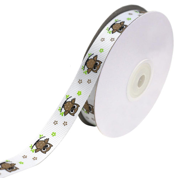 Floral Owl on Branch Grosgrain Ribbon, Brown, 5/8-Inch, 25-Yard