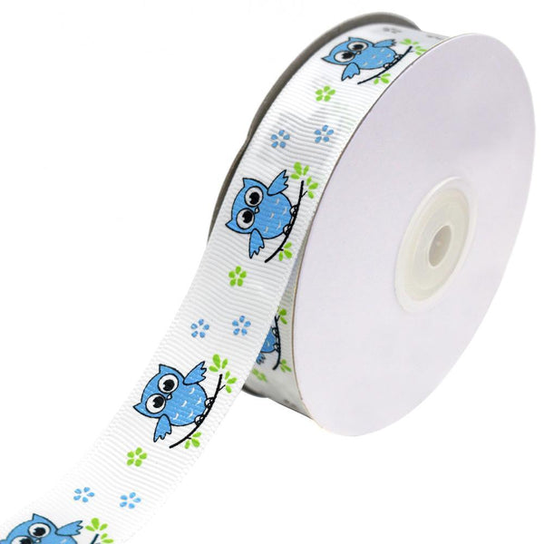 Floral Owl on Branch Grosgrain Ribbon, Turquoise, 7/8-Inch, 25-Yard