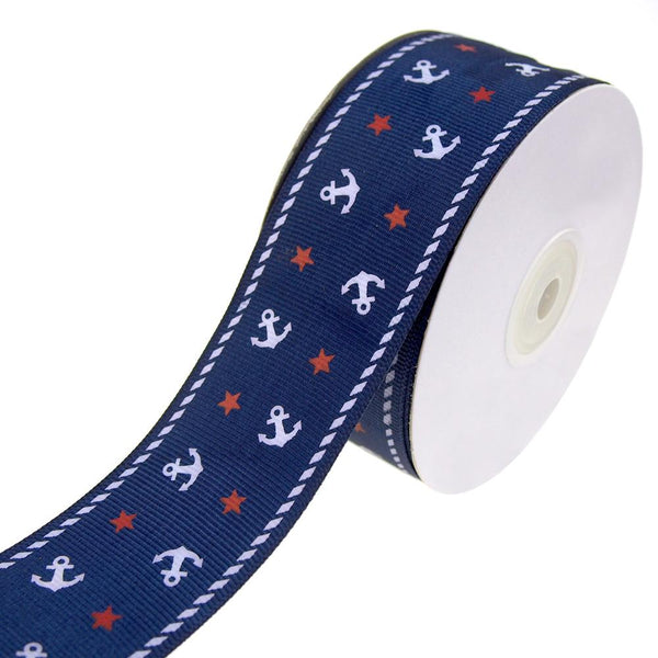 Nautical Anchor and Star Grosgrain Ribbon, Navy, 1-1/2-Inch, 25-Yard
