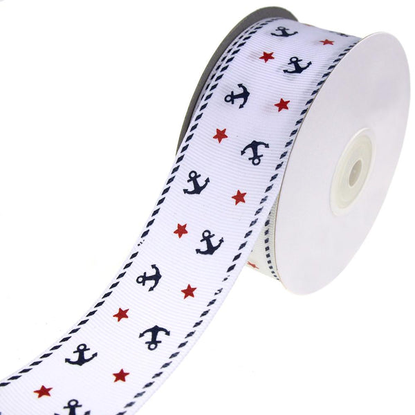 Nautical Anchor and Star Grosgrain Ribbon, White, 1-1/2-Inch, 25-Yard