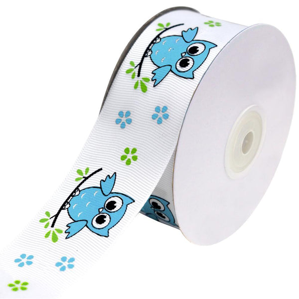 Floral Owl on Branch Grosgrain Ribbon, Turquoise, 1-1/2-Inch, 25-Yard