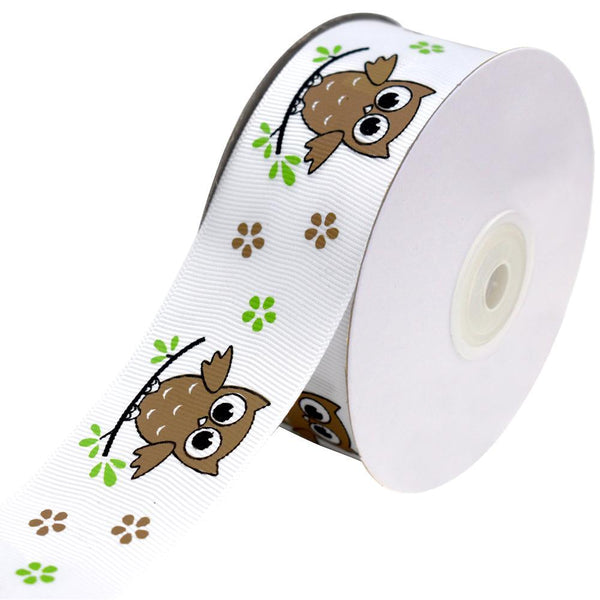Floral Owl on Branch Grosgrain Ribbon, Brown, 1-1/2-Inch, 25-Yard