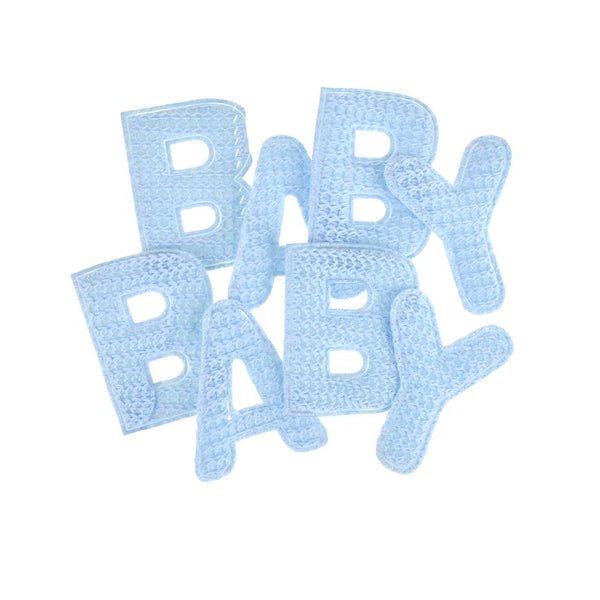 Baby Puffy Crochet Knitted Letters, 8-Piece, Blue
