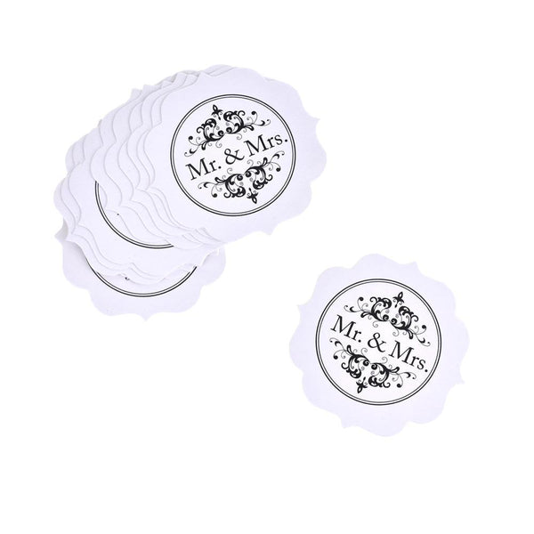 Scalloped Die Cut Mr & Mrs Wedding Paper Tags, 1-1/2-Inch, 12-Count