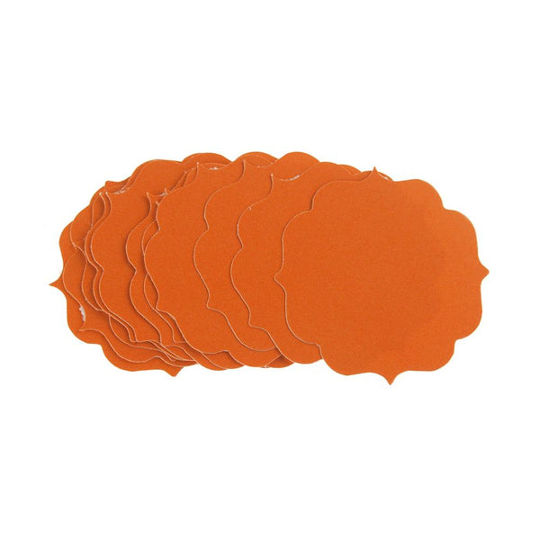 Quatrefoil Favor Label Tags, 1-3/4-Inch, 12-Count, Orange