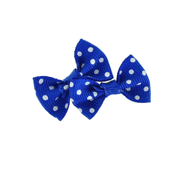 Mini Polka Dot Tied Grosgrain Bow Favor Embellishments, 1-1/2-Inch, 12-Piece, Royal Blue