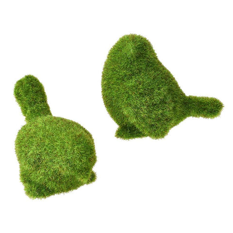 Mini Artificial Moss Bird Topiary Decor, Green, Assorted Sizes, 2-Piece