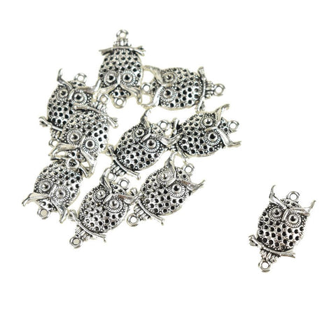 Small Cute Owl Charms, Silver, 1-Inch, 15-Piece