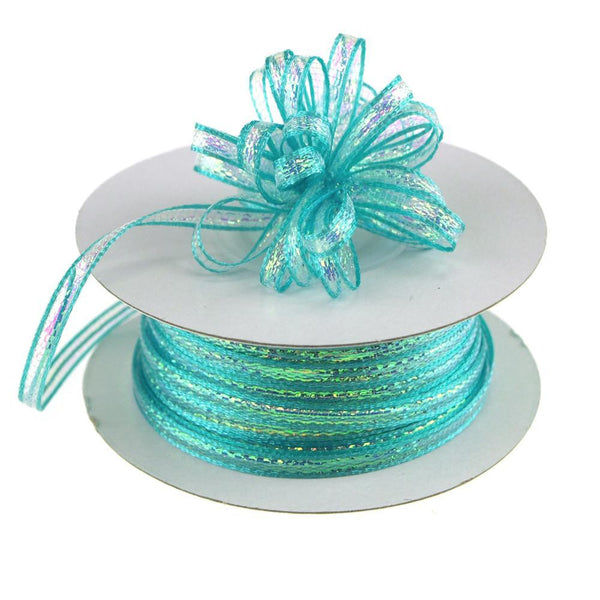 Iridescent Pull Bow Christmas Ribbon, 1/8-Inch, 50 Yards, Aqua