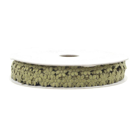 Polyester Flower Garland Ribbon, 1/4-Inch, 25-Yard, Moss Green