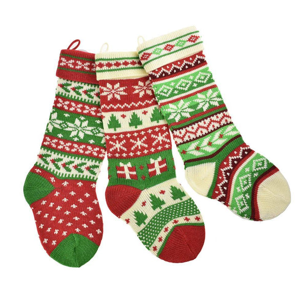 Knitted Snowflake and Tree Christmas Stockings, Red/White/Green, 20-Inch, 3-Piece