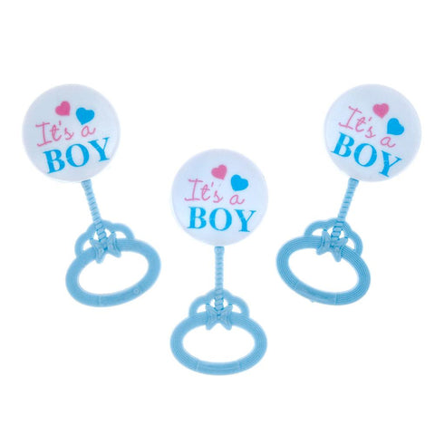 Mini Plastic Baby Rattle Favor Decorations, Blue, 3-1/2-Inch, 12-Count