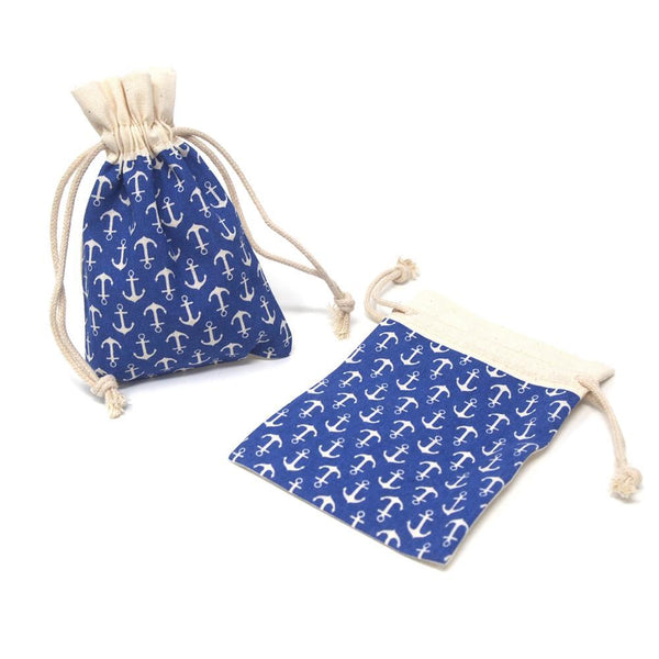 Printed Cotton Favor Pouch Bags, 3-1/2-Inch x 5-Inch, 12-Count, Blue Anchors
