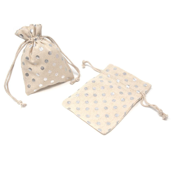 Printed Cotton Favor Pouch Bags, 3-1/2-Inch x 5-Inch, 12-Count, Metallic Silver Dots