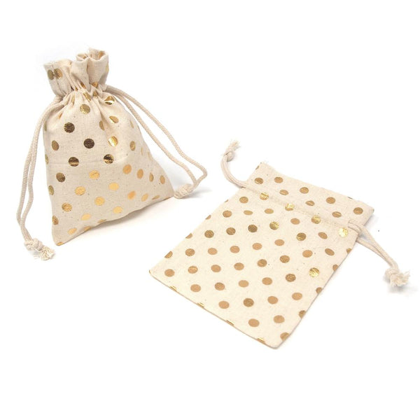 Printed Cotton Favor Pouch Bags, 3-1/2-Inch x 5-Inch, 12-Count, Metallic Gold Dots