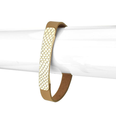 Leather Bracelet with Snake Skin Metal, 6-1/2-Inch