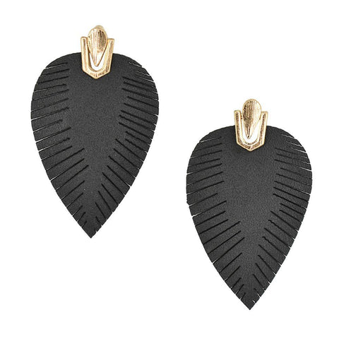 Suede Feather Drop Earrings, Black, 2-Inch