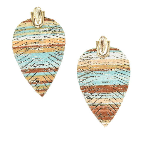 Suede Feather Drop Earrings, Multicolor, 2-Inch
