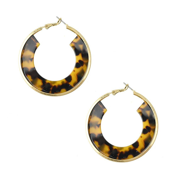 Circle Acetate Hoop Earrings, Brown, 2-Inch
