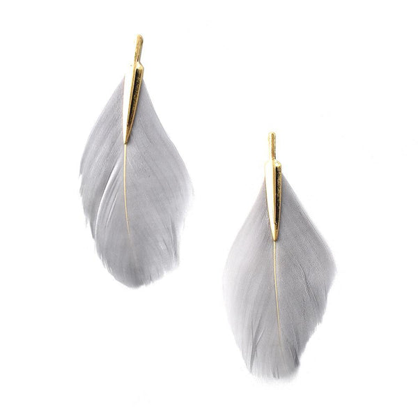 Single Feather Drop Earrings, Grey, 3-Inch