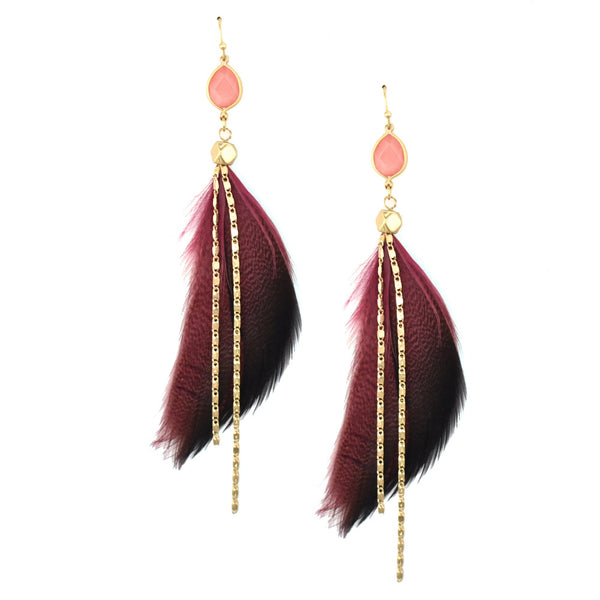 Feather with Stone Drop Earrings, Burgundy, 4-Inch