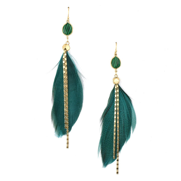 Feather with Stone Drop Earrings, Teal, 4-Inch