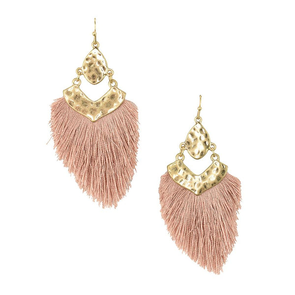 Tassel Drop Dangle Earrings, Dark Pink, 2-1/2-Inch