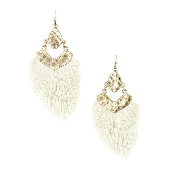 Tassel Drop Dangle Earrings, Ivory, 2-1/2-Inch