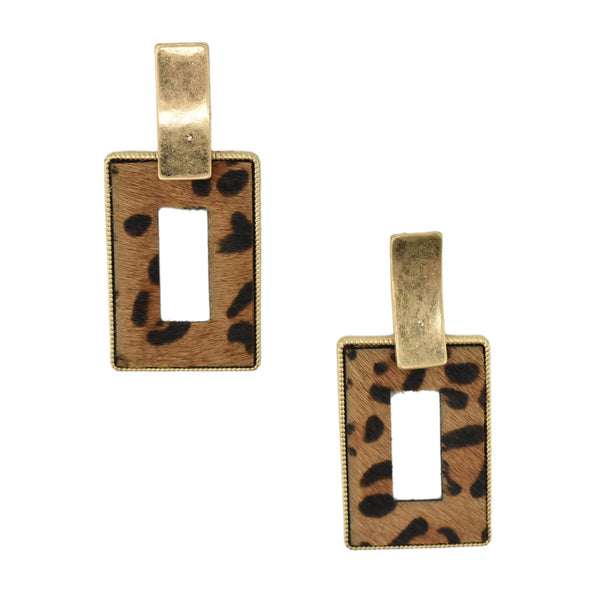 Rectangular Real Calf Hair Leather Drop Earrings, 2-1/4-Inch