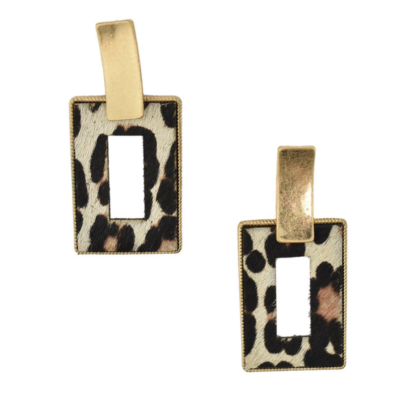 Rectangular Real Calf Hair Leather Drop Earrings, Ivory, 2-1/4-Inch
