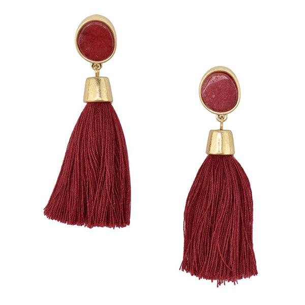 Hanging Tassel with Stone Post Earrings, 2-1/4-Inch, Burgundy