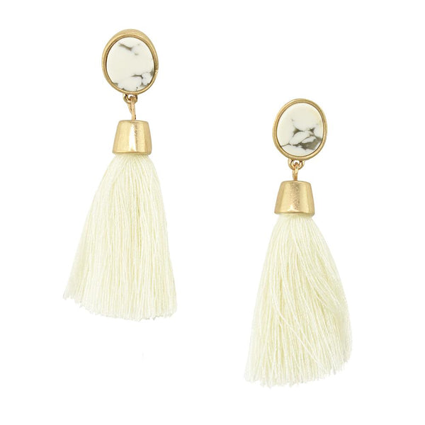 Hanging Tassel with Stone Post Earrings, 2-1/4-Inch, Ivory