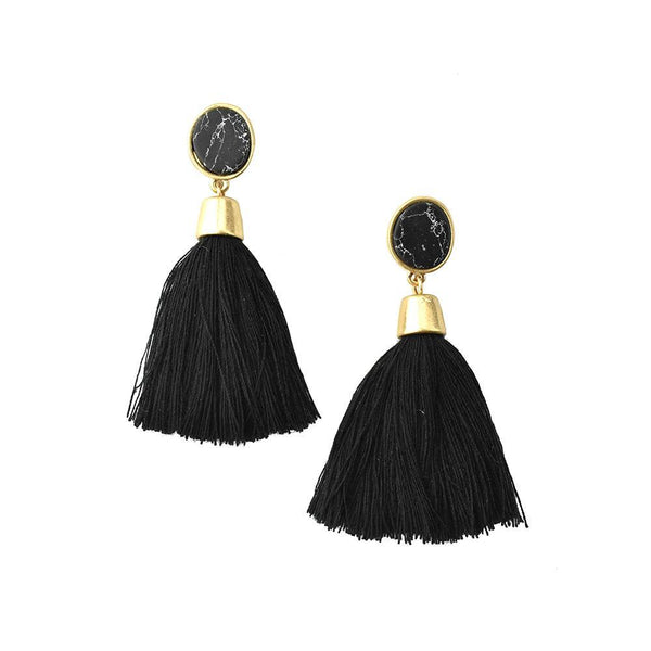 Hanging Tassel with Stone Post Earrings, 2-1/4-Inch, Black