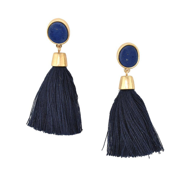 Hanging Tassel with Stone Post Earrings, 2-1/4-Inch, Navy