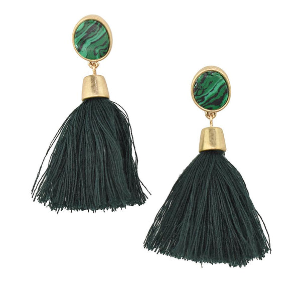 Hanging Tassel with Stone Post Earrings, 2-1/4-Inch, Teal