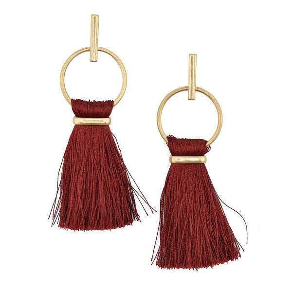 Round Hoop Hanging Tassel Earrings, 3-Inch, Burgundy